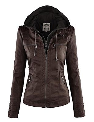 WJC663 Womens Removable Hoodie Motorcyle Jacket M Coffee