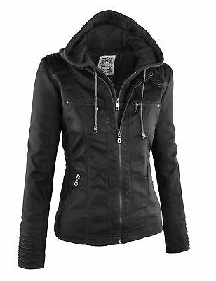Made By WJC663 Womens Removable Hoodie Motorcyle Jacket Black