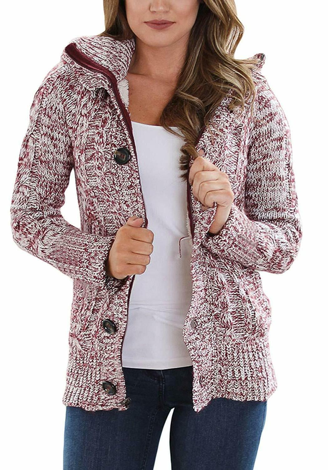 women hooded knit cardigans button cable sweater