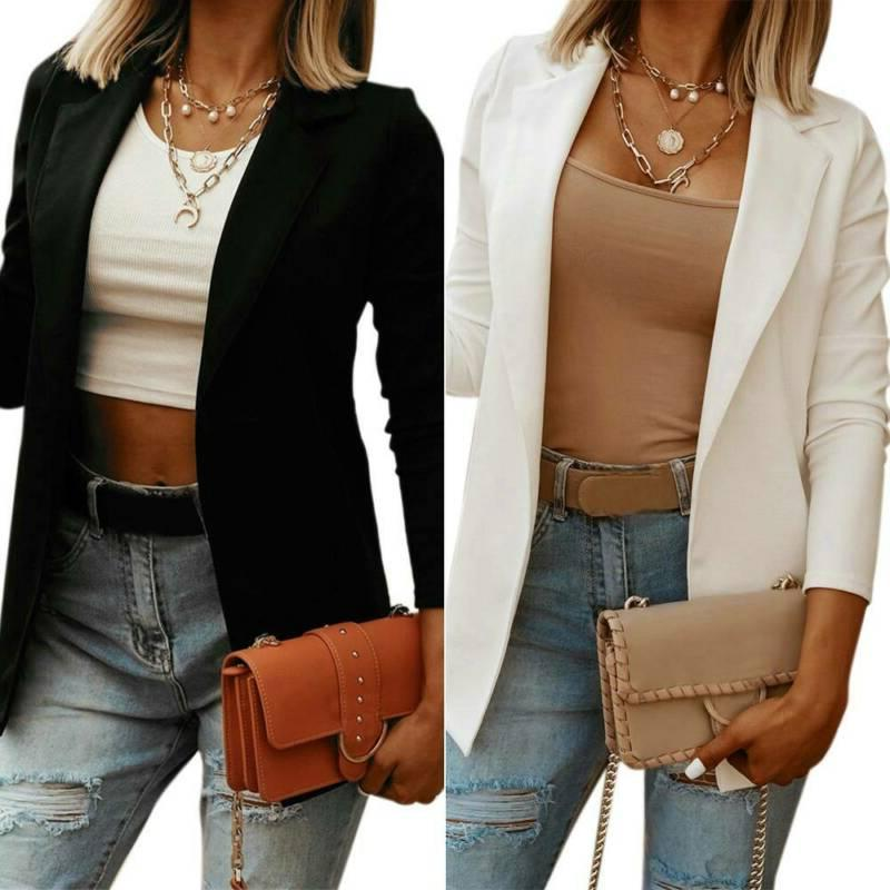 Women Lapel Blazer Work OL Jacket Coat Outwear US