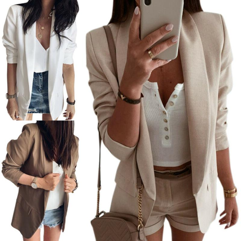 Women Ladies Long Lapel Suit Office Work OL Jacket Coat Outwear US
