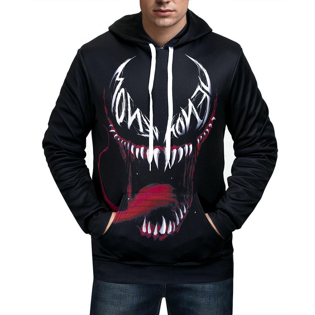 Women/Men Hoodies Print Venom Sweater