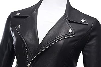 Tanming Women's Slim Motorcycle PU Faux Jacket Coat Medium, Black