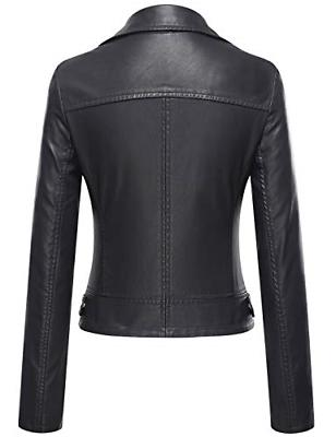 Tanming Women's Slim Motorcycle Jacket Coat