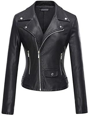 women s casual slim motorcycle pu faux