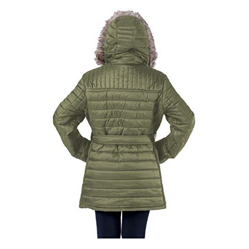 TanBridge Women's Parkas Sherpa Lined Jacket with 2 Zipper Pockets & Detachable Olive S