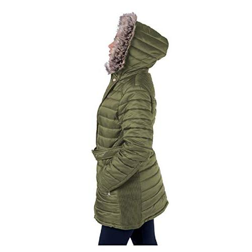 TanBridge Women's Sherpa Lined with & Detachable Fur Olive
