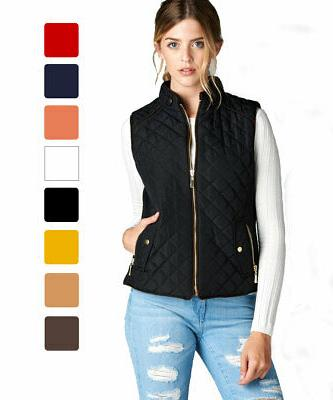 Women's Lightweight Quilted Padding Vest w/ Suede Piping Det