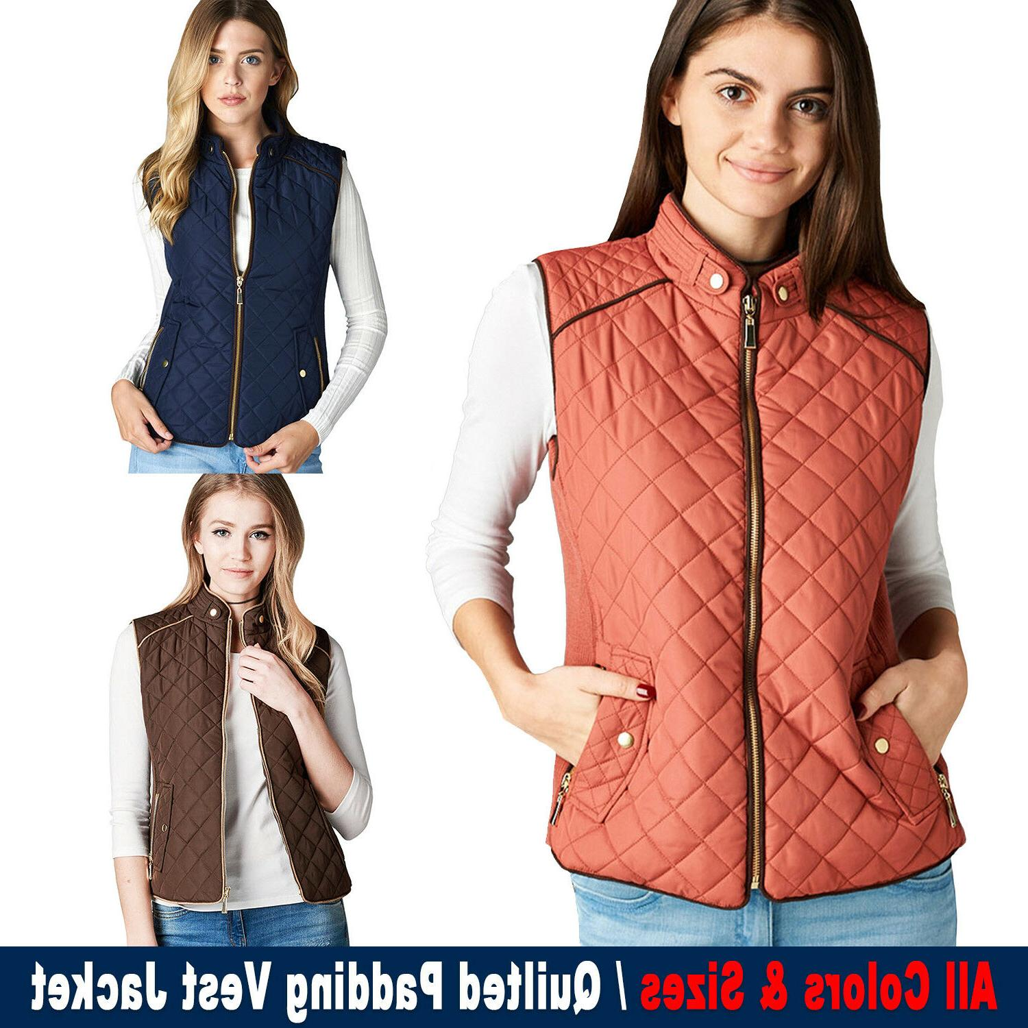 Women's Paddin Vest Jacket Lightweight Quilted Top Outwear S