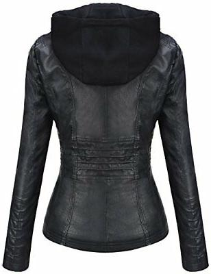Tanming Hooded Faux Leather Black