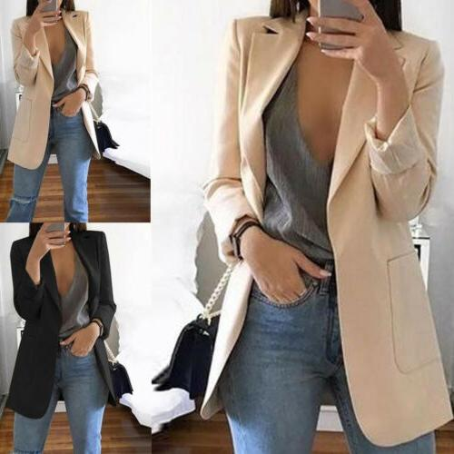 Women Casual Jacket Top Long Sleeve Formal Long Coat