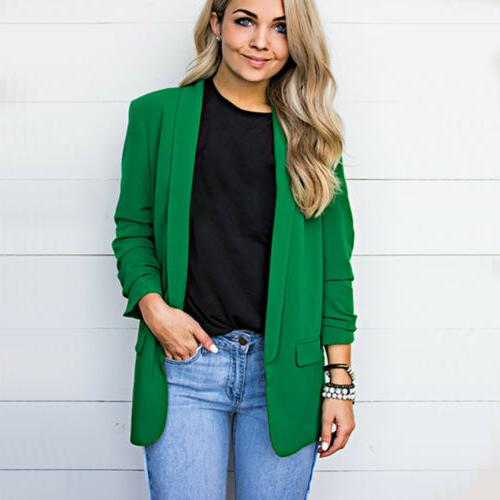 Women Color Sleeve Blazer Office Formal Jacket Size