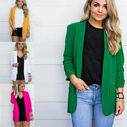 Women Solid Sleeve Blazer Office Formal Size