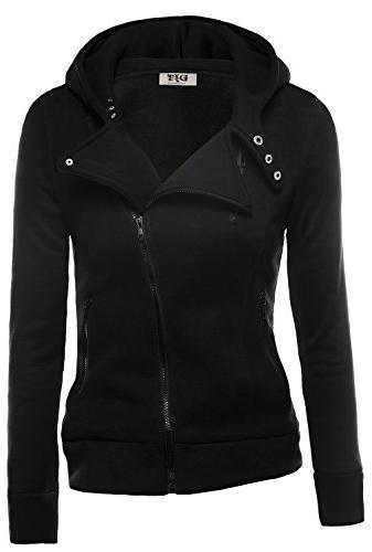 womens casual oblique zipper hoodie jacket coat