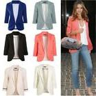 Womens Casual Work Solid Color Knit Blazer Slim OL Suit Jack
