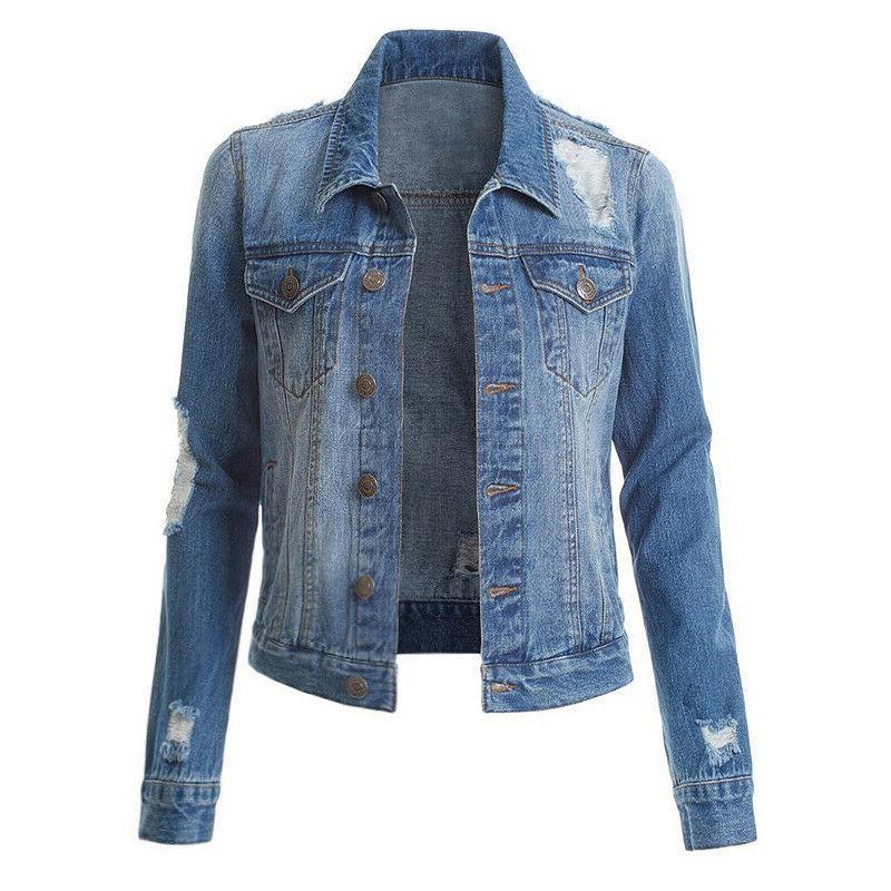 Womens Denim Jackets Long Sleeve Button Collar Tops