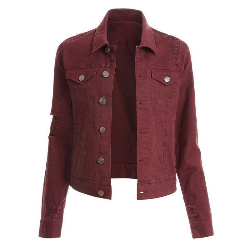Womens Jackets Sleeve Button Coat Collar Outwear Slim Tops