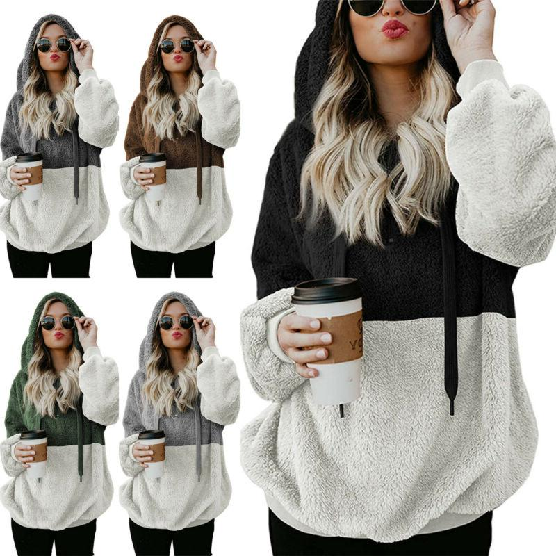 Women's Bear Fluffy Fleece Hoodies Winter Thick L