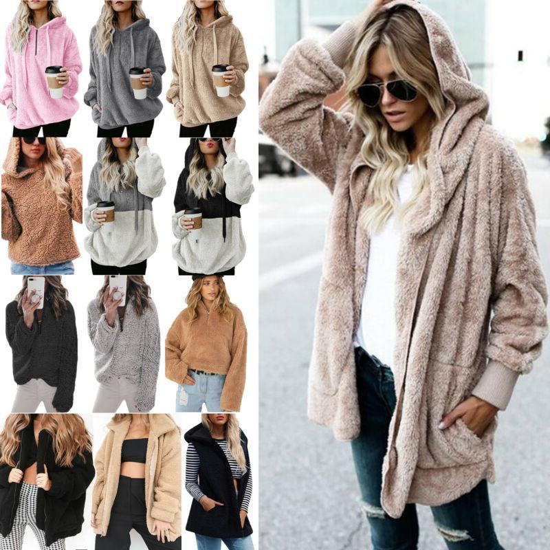 Women's Teddy Bear Fluffy Fleece Hoodies Coat Winter Warm Outwear