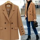 Womens Lapel Double-Breasted Business Mid Length Solid Suit