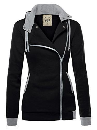womens oblique zipper slim fit hoodie jacket