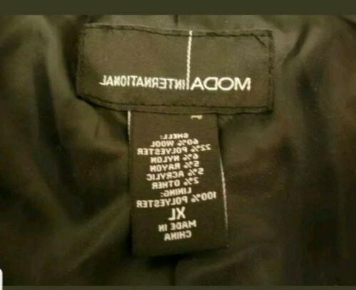 Womens XL International Peacoat Wool Black Military