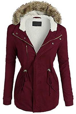 FASHION BOOMY Womens Zip Up Military Anorak Jacket W/Hood Me