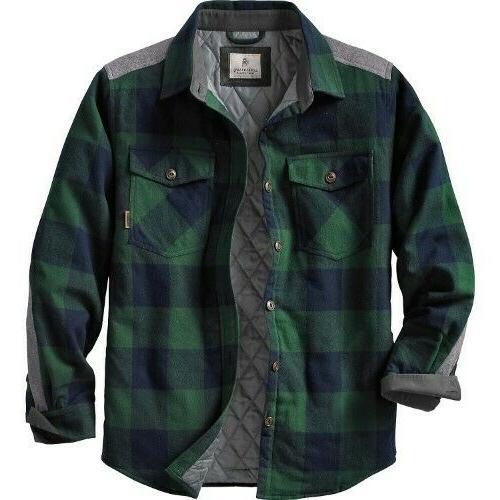 xl woodsman quilted shirt jacket green plaid