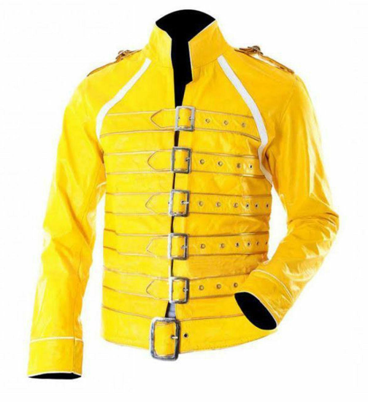 Yellow Men's Freddie Mercury Concert Faux Leather Coat