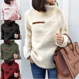 Ladies Fleece Fur Jacket Outerwear Tops Winter Warm Hoodie F