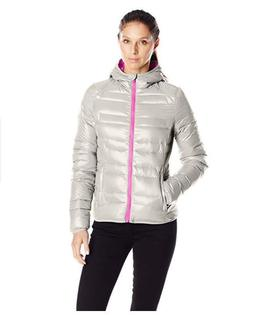Lark & Ro Women's Packable Down Hooded Jacket, Pebble/Mulber