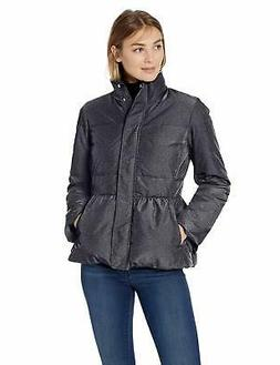 Lark & Ro Women's Peplum Puffer Jacket, Black Bird - Choose