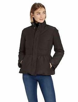 Lark & Ro Women's Peplum Puffer Jacket, Black, X-S - Choose