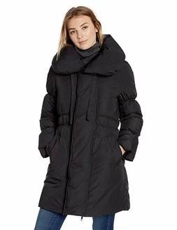 Lark & Ro Women's Pillow Collar Puffer Winter Jacket, Black,