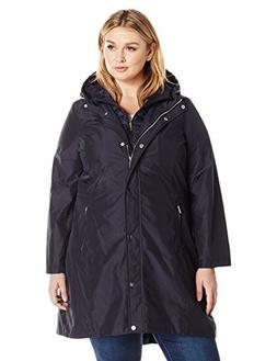Lark & Ro Women's Plus Size Bib Windbreaker, Mystic Blue, 2