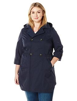 Lark & Ro Women's Plus Size Double Breasted Cinch Trench Coa