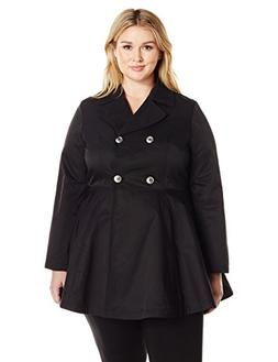 Lark & Ro Women's Plus Size Fit and Flare Trench Coat, Black