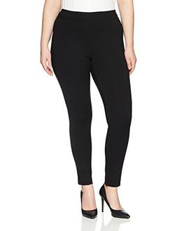 Lark & Ro Women's Plus Size Compression Straight Leg Pants,