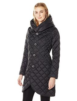 Lark & Ro Women's Quilted Shawl Collar Tulip Jacket with Hoo