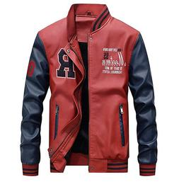 Lavnis Men's Faux Leather Jacket Casual Baseball Stand Colla