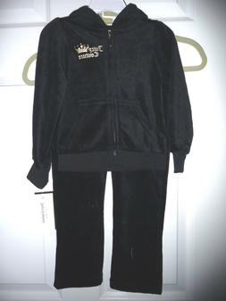 Juicy Couture Legging & Hood Top Jacket 2 Pc Set BLACK Velou