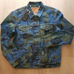 Levi's Premium Quality Men's Denim Camo Trucker Jacket Siz