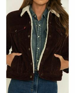 Levis Sherpa Womens Corduroy Trucker Jacket Color Burgundy 0