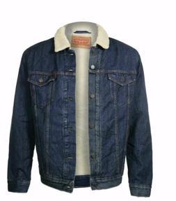 Levis Sherpa Trucker Jacket Color Denim Blue #0001 Size Larg