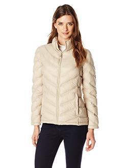 Calvin Klein Women's Lightweight Chevron Packable Jacket, Fl
