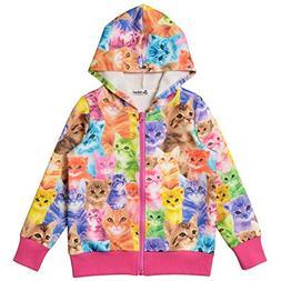 Jxstar Little Girls Cat Long Sleeve Hoodie Full Zip Pocket J