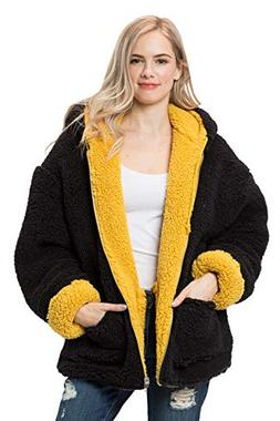 LL Women's Reversible Winter Hooded Cardigan Coat Soft Teddy
