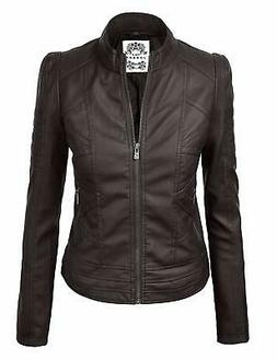 Lock and Love LL Womens Quilted Biker Jacket