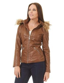 Lock and Love LL Womens Hodded Fur-Line Faux Leather Jacket