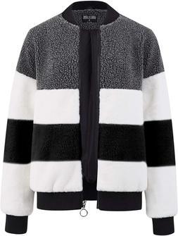 Lock and Love Women's Soft Long Sleeve Zip-up Faux Minx Fur